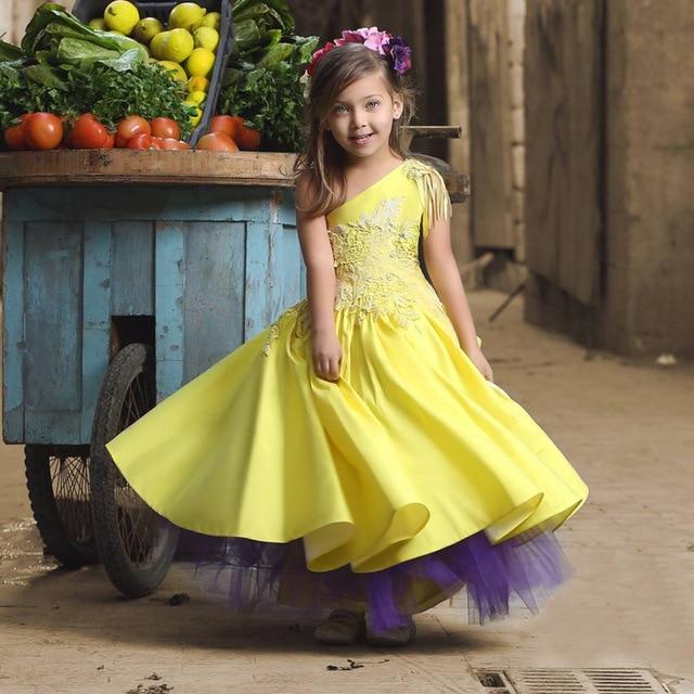 Lovely Yellow One Shoulder Pleat Cheap Ball Gown   Flower     Girl     Dresses   2019 Princess   Flower     Girl     Dress   vestidos de comunion 2019