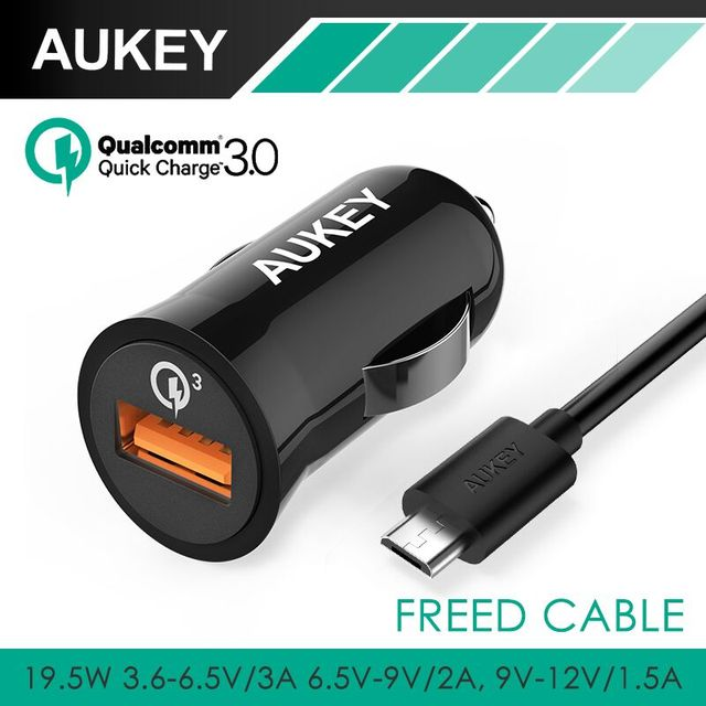 Aukey [Qualcomm Quick Charge 3.0] 3-in-1 Car Charger ( 2.4A for Android + Quick car Charger for QC 2.0 smartphone