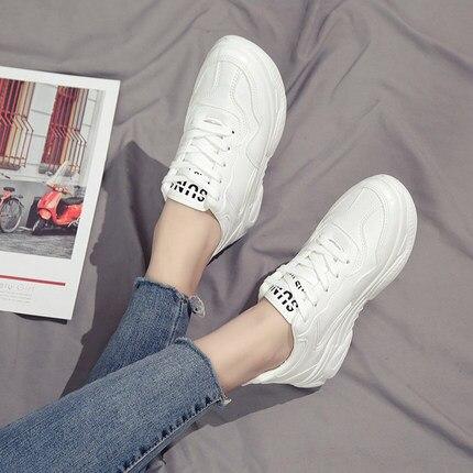 Casual Nouveau À noir Chaussures Plates Sauvage Beige Dentelle blanc Semelles Épaisses 2019 Printemps Étudiantes up wf8UdqwWB