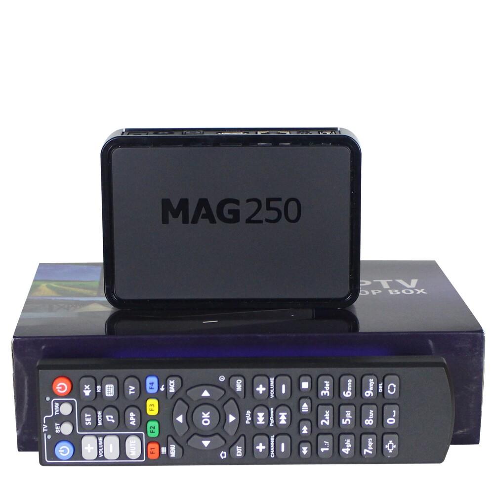 Prix pour Livraison gratuite 1 pc Haute Qualité Mag250 Linux 2.6.23 Système IPTV Set Top Box Processeur STi7105 RAM 256 Mb MAG 250 iptv boîte