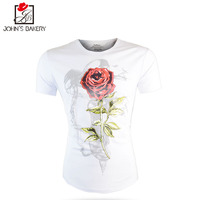 New Fashion 2017 Brand Male T Shirt Rose Prints Trends T Shirt Men Funny Summer Tee