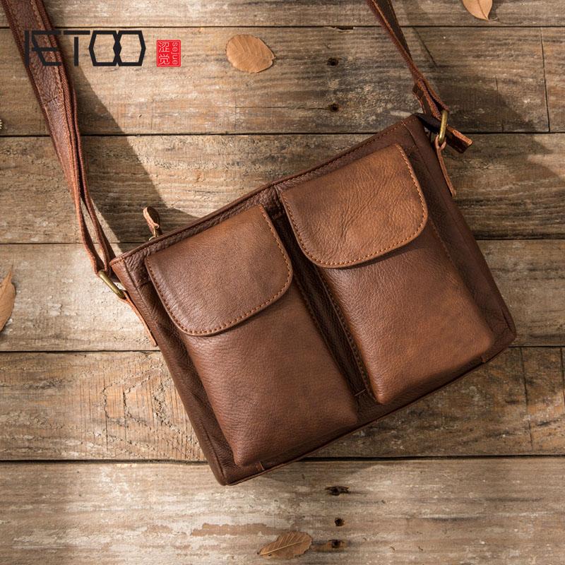 AETOO Original Retro Men s Leather Handbag First Handed Cowhide Shoulder Skip Mailman Bag Casual Men