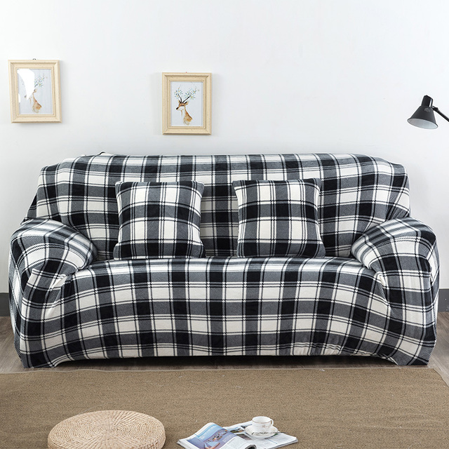 Classic Plaid Printed Black White Sofa Covers 1 Piece Plush Fabric ...