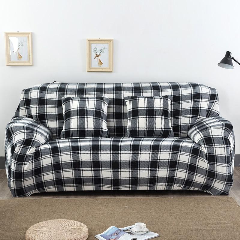 Classic Plaid Printed Black White Sofa Covers 1 Piece Plush Fabric Couch  Cover Stretch Sofa