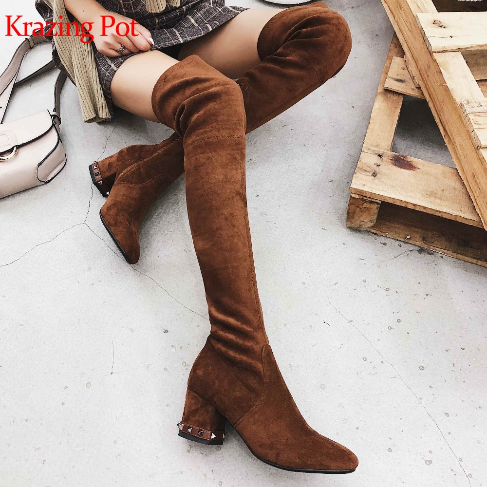 Krazing pot Winter warm new arrival flock women boots round toe high heel rivets heel streetwear zipper over-the-knee boots L27 new arrival winter flat heel over the knee women boots round toe snow boots knee high warm winter female boots black brown white