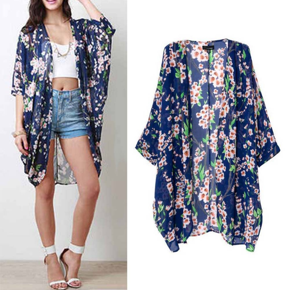 Fashion Women Summer Blouse Beach Boho Kimono Cardigan Floral ...
