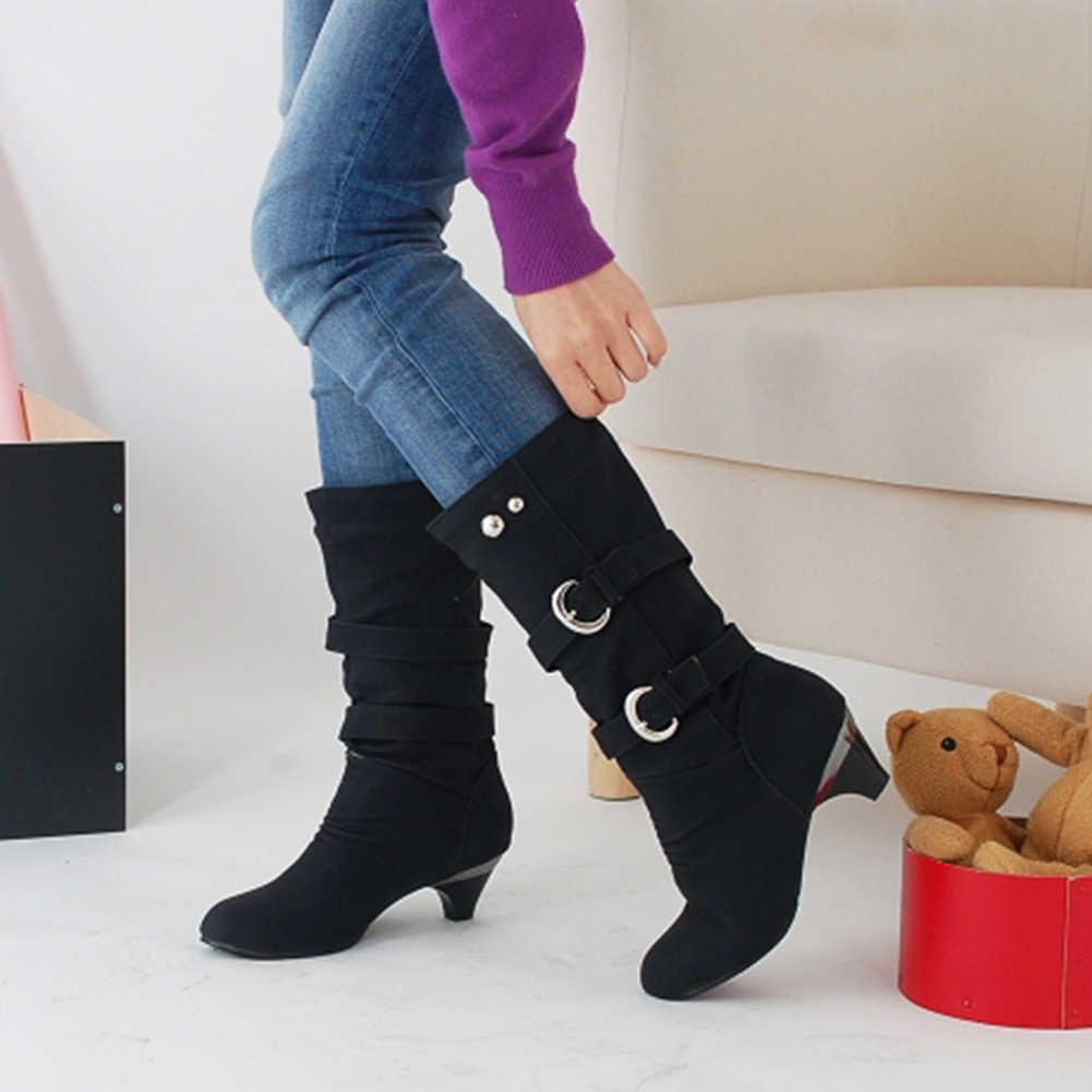 Doratasia Yeni Dropship Büyük Boy 43 Yüksek Kaliteli Topuklu Retro Rusya çizmeler kadın ayakkabıları Eklemek Kürk Kışlık Botlar Bayan Botları Kadın