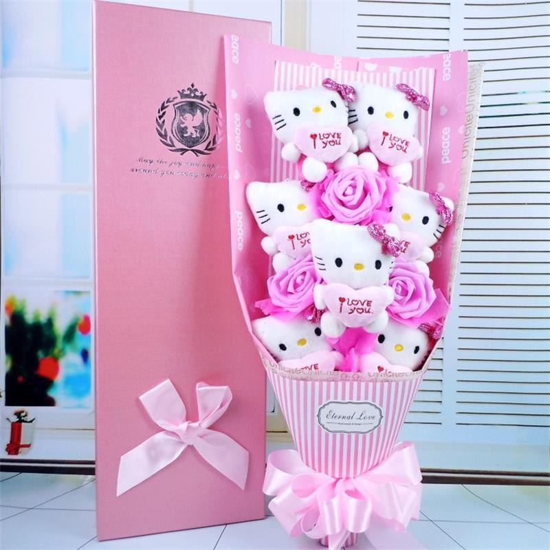 100% hamdmade 3 simulation flowers+7 hello kitty Stuffed Animal Plush cats Toy cartoon flowers bouquet Valentine's Day gift