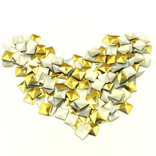 1000Pcs Punk 3D Square Rivet Stickers Metallic Studs Nail Decoration Embellishments Scrapbook Crafts Findings 7x7mm