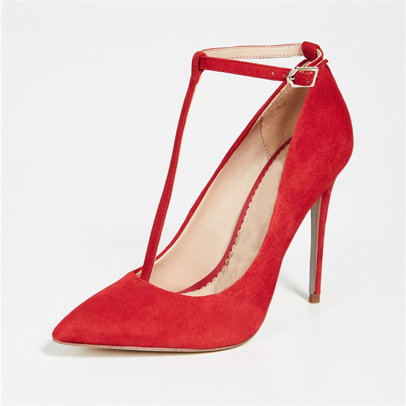 Nouveauté Pic Chaussures Robe Élégant Talons Hauts Lanières Pointu Femmes Pompes Mince Boucle As Mariage Lady 2019 Suede Rouge Bout attaché T De OAxw1rOq