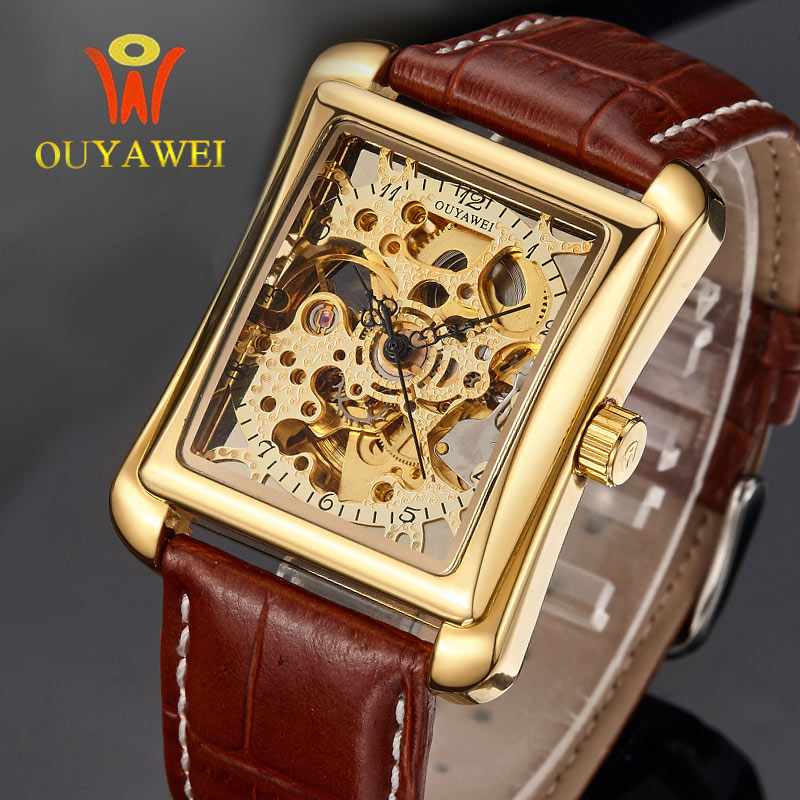 Brand OUYAWEI Business Males Watches Square Watch Gold Case Leather Skeleton Mechanical Watches Men Luxury Brand Heren Horloge туфли the males 220