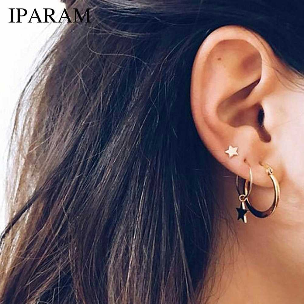 IPARAM 2019 Simple Gold Star Stud Earrings for Women Earrings brincos Oorbellen boucle d'oreille pendientes bijoux