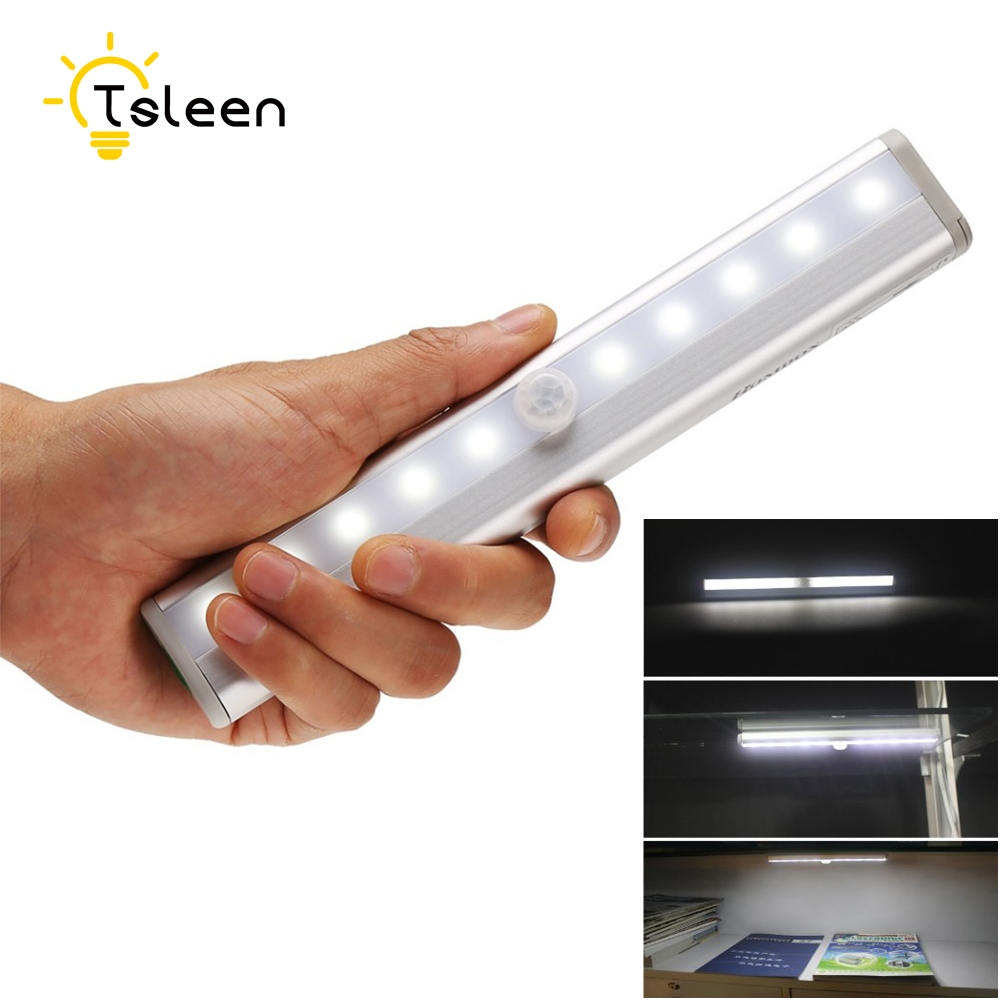 TSLEEN Free Shipping!Motion Sensor LED Cabinet Light 10LEDS Night Light LED Bar Lamp IR Motion Detector For Cabinet Bookcase