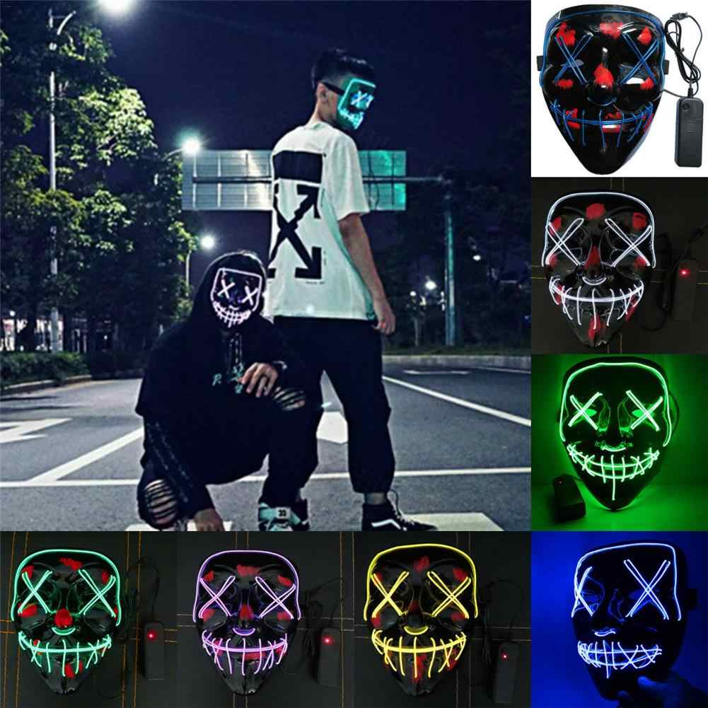 Hot 20 Cores Máscara de Halloween LED Maske Maska Acender Máscaras Do Partido Neon Cosplay Mascara Horror Masque Mascarillas V para vendetta
