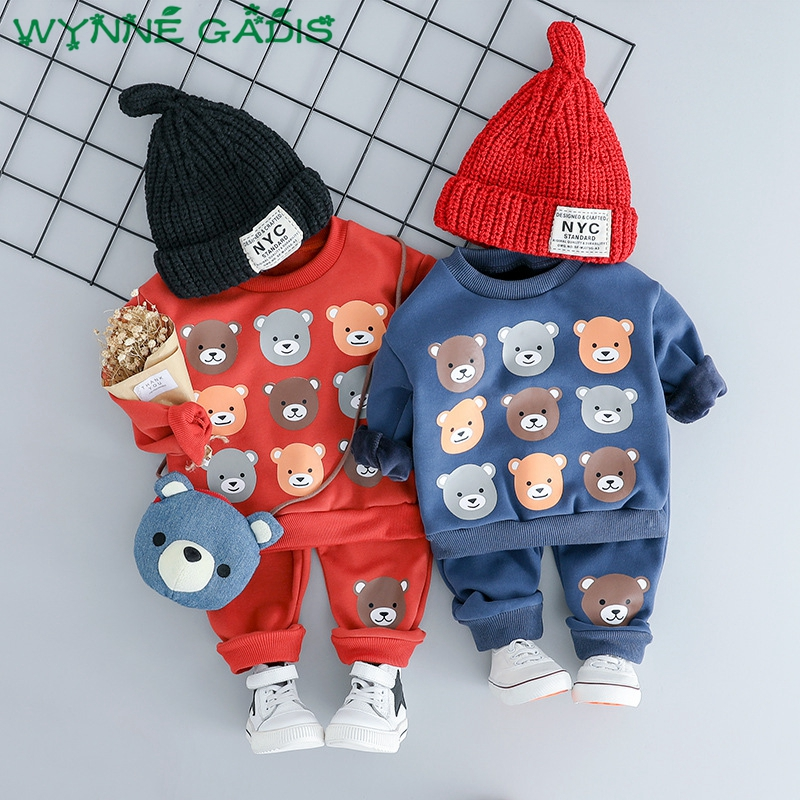 Sweatshirt Two-Pieces-Suits Baby-Boys Pants Tops Kids-Sets Long-Sleeve Girls Winter Bear