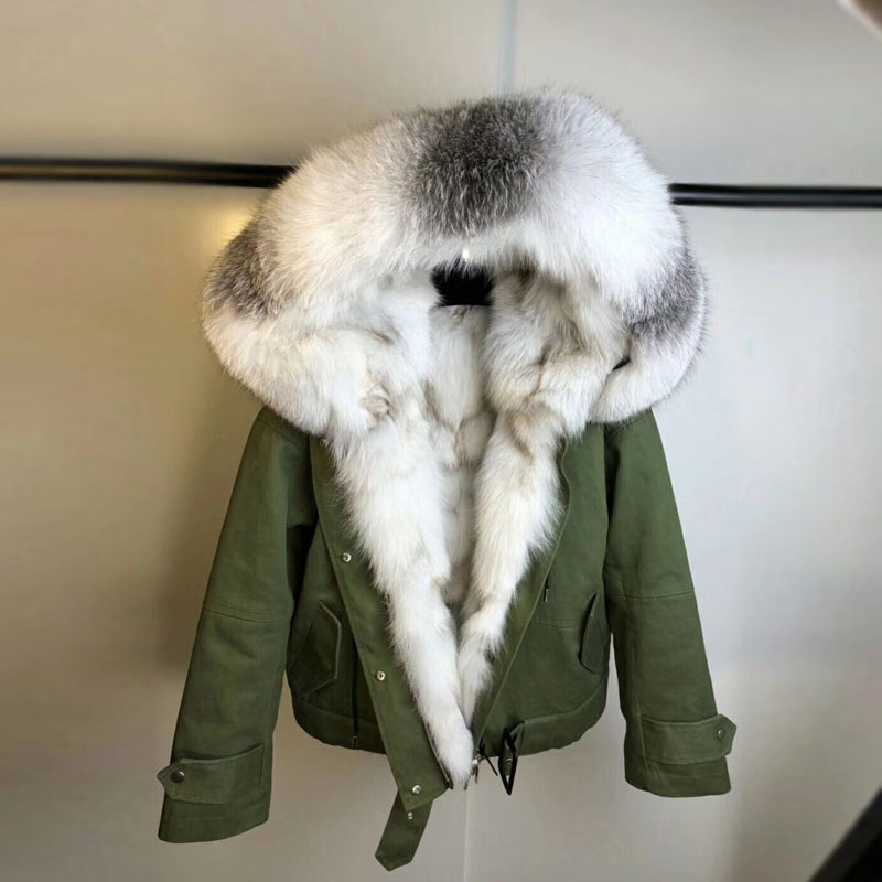 2018 nueva llegada real fox piel parka Cuello de piel para mujer piel genuina fox forrado capucha mujer Invierno Caliente grueso outwear chaquetas