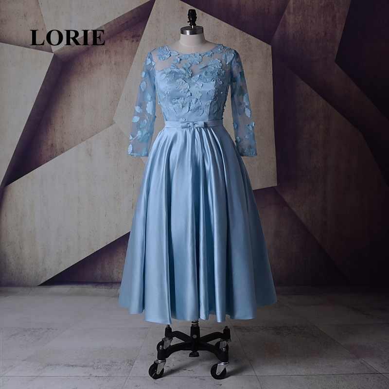 LORIE Tea Length Evening Dress O-Neck Applique A-Line Long Sleeve Satin Prom 281e7682a387