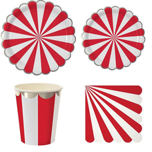 Silver Foiled Red Striped Paper Party Plates Cup Napkin Silver Foiled Tableware Set For Birthday Baby Shower Decoration