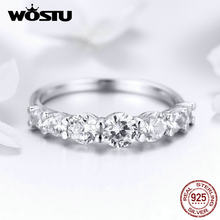 WOSTU Wedding Glacial Beauty Ring 925 Sterling Silver Dazzling Clear CZ Rings For Women Engagement Style Jewelry FIR475(China)