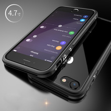 For Apple iphone 7 Case Metal Bumper Protection with Transparent PC Back Cover Shockproof Case for iphone 7plus Shell