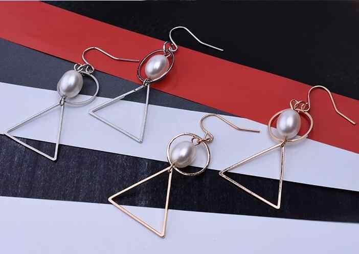 Ea712 bohème gland simple imitation perle Vintage exagéré géométrique triangle rond boucles d'oreilles femme charme bijoux