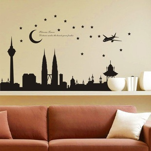 Good 1pc High Quality 140*77cm Balck Malaysia Twin Tower Living Room Vinyl Wall  Decals Bedroom