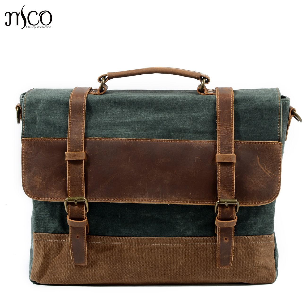 61ada9919356 Melodycollection Men Vintage Waxed Canvas messenger bag leather man travel  bags retro Business bag Briefcases messenger handbag-in Top-Handle Bags  from ...