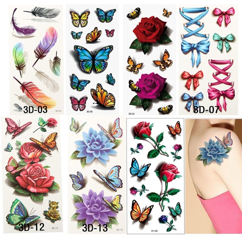 7pcs/set Flower Waterproof Temporary Tattoos Sticker For Body Art Fake Tattoo Sleeve Temporary 3D Transferable Tattoos For Women