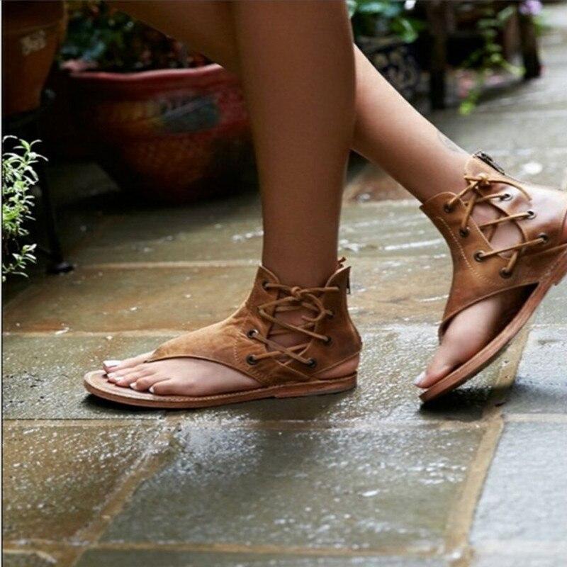 Mujeres Verano Cuero Correa Chancletas Sandalias Zapatos 2018 marrón Tacón Vintage Cordones Mujer Gladiador amarillo De Con Agutzm Negro Plano Ew6qA