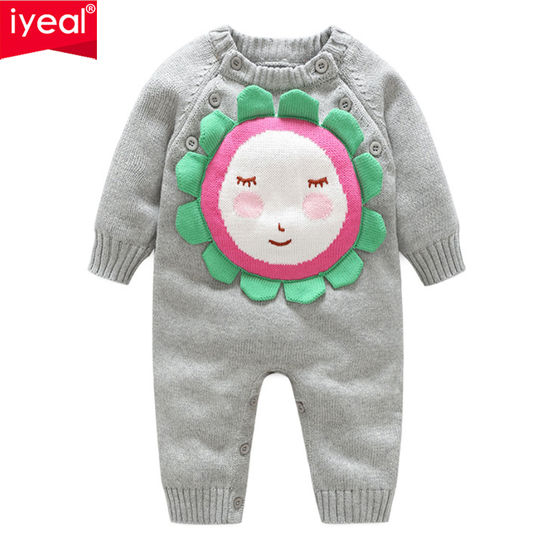 IYEAL Baby Girls Knitting Romper Newborn Baby Boy Clothes Cartoon Face Pattern Knitted Baby Jumpsuit Overalls Autumn Sweaters auro mesa blue baby knitting romper 100