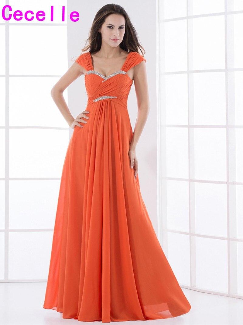 2019 Real Orange Long Chiffon   Bridesmaid     Dresses   Straps Pleats A-line Beaded Elegant Formal Wedding Party   Dress   Custom Made