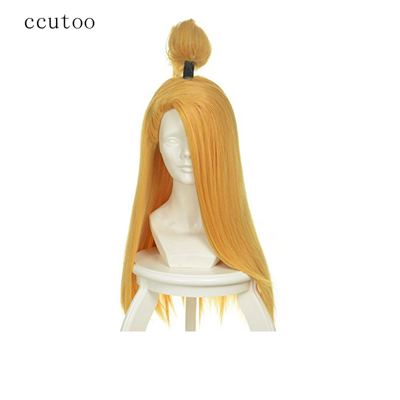 "ccutoo 24"" Golden Long Straight Styled Synthetic Hair Cosplay Full Wigs Heat Resistance Fiber"