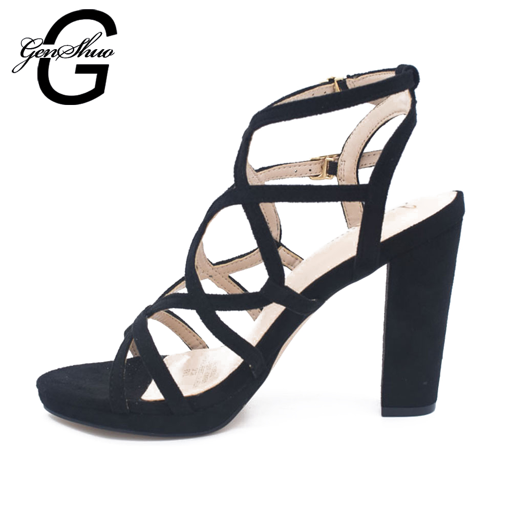 GENSHUO Sexy Women Sandals 10CM Strappy Heels Shoes Platform Women Shoes Summer Gladiator Sandals Woman Shoes Chaussure Femme 2017 new summer strappy heels platform woman sandals designer sandals for women sexy brand closed toe gladiator sandal
