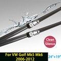 """Lâminas de limpador para volkswagen golf mk5 mk6 (2006-2012) 24 """"+ 19"""" ajuste botão braços do limpador único"""