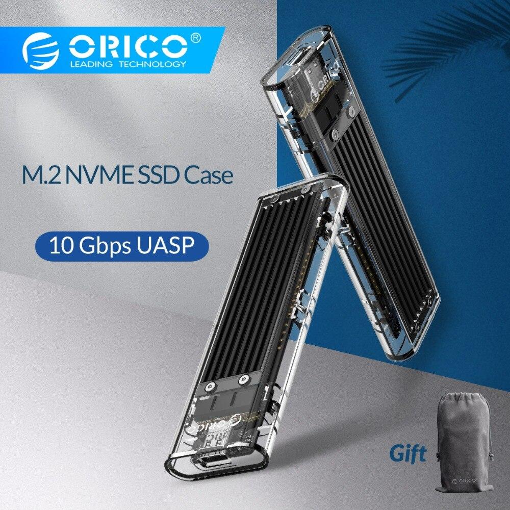 Boîtier SSD M.2 Transparent ORICO 10 Gbps compatible protocole UASP USB3.1 Gen2 boîtier Mini SSD type-c avec C à C et C à un câble