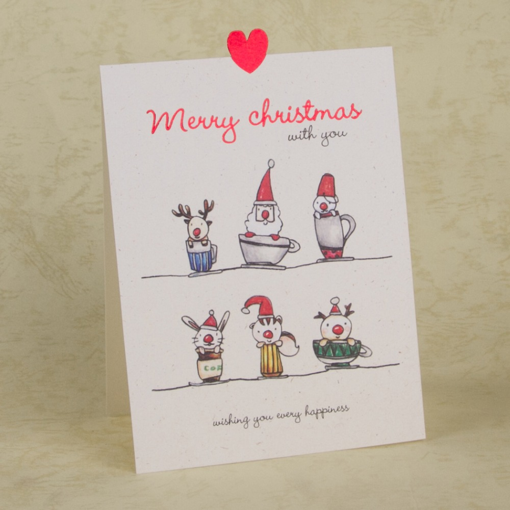 Merry Christmas Cards Cartoon Animals Xmas Greeting Card New Year ...