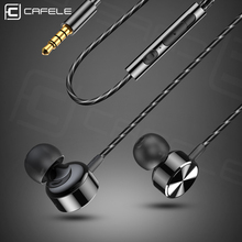 CAFELE In-Ear Wired Earphone Professional High fidelity Sound Quality Metal Heavy Bass Music with Mic for phone
