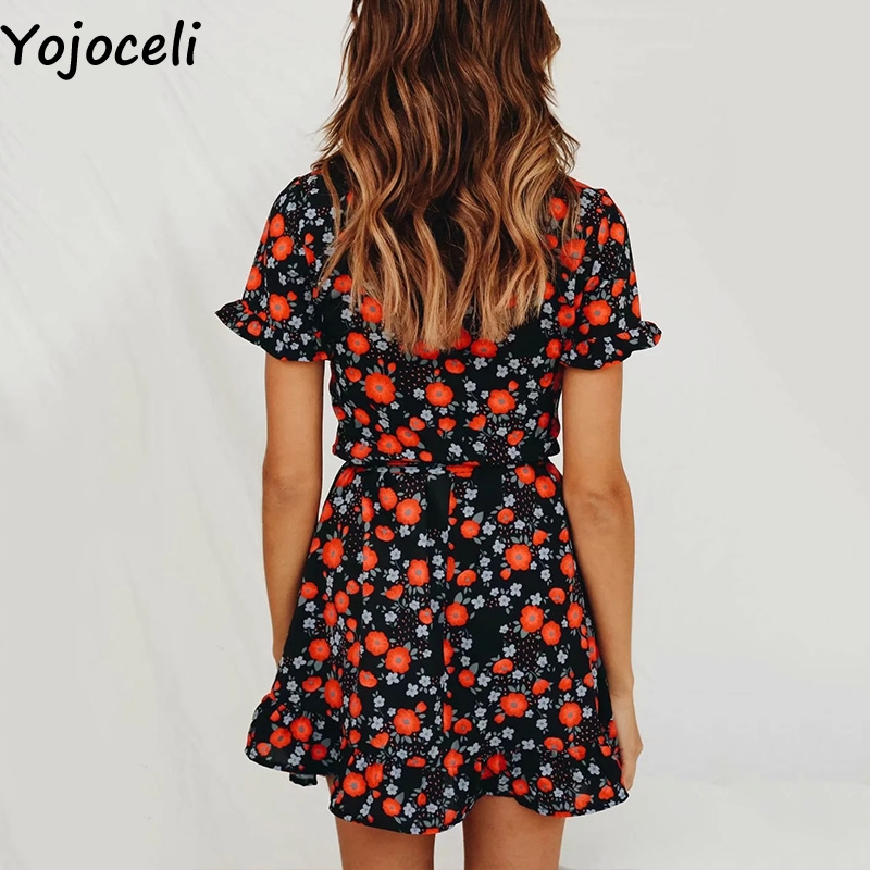 Cuerly Sexy floral print ruffle dress women Summer elegant party wrap short dress female Casual beach daily dress vestidos L5 in Dresses from Women 39 s Clothing