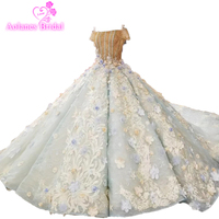 Hot Sale Special Lace Design Wedding Dress Blue And Ivory Color Bridal Gown Short Sleeve Wedding Gown Factory Directly Ball Gown