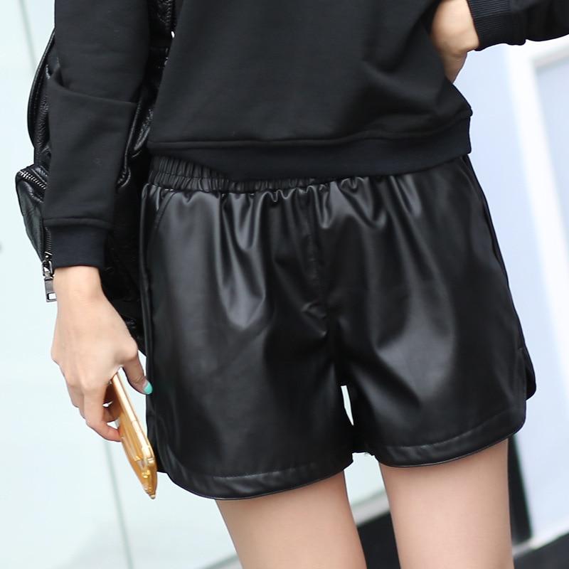 2017 جديد بو الجلود السراويل المرأة أسود جودة عالية السراويل القصيرة مع جيوب فضفاض عارضة قصيرة الصيف المرأة زائد حجم السراويل