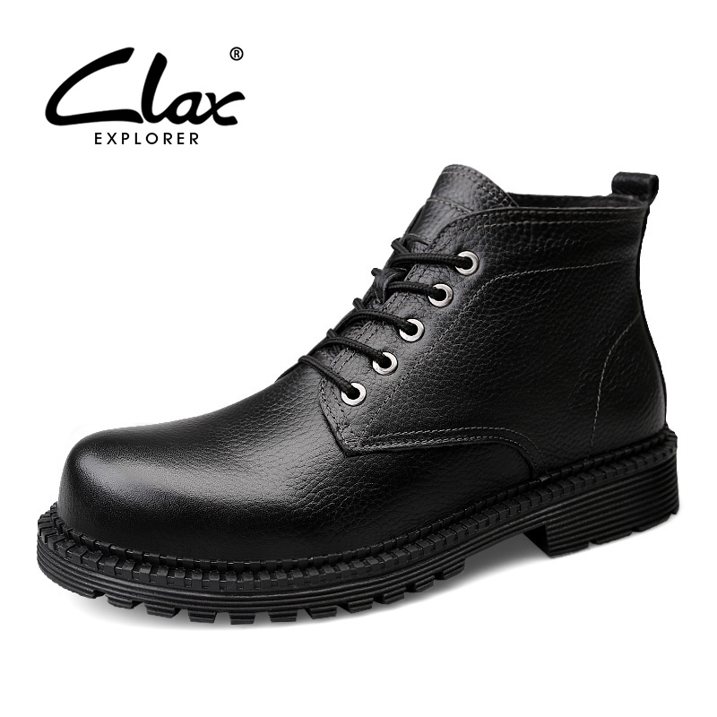 CLAX Men Work Boots Genuine Leather Autumn Winter Casual Leather Shoe Male High Boot Fur warm Snow Shoe chaussure homme Big Size clax men dress boots genuine leather 2017 winter black formal shoes male handmade snow shoe plush fur warm footwear big size