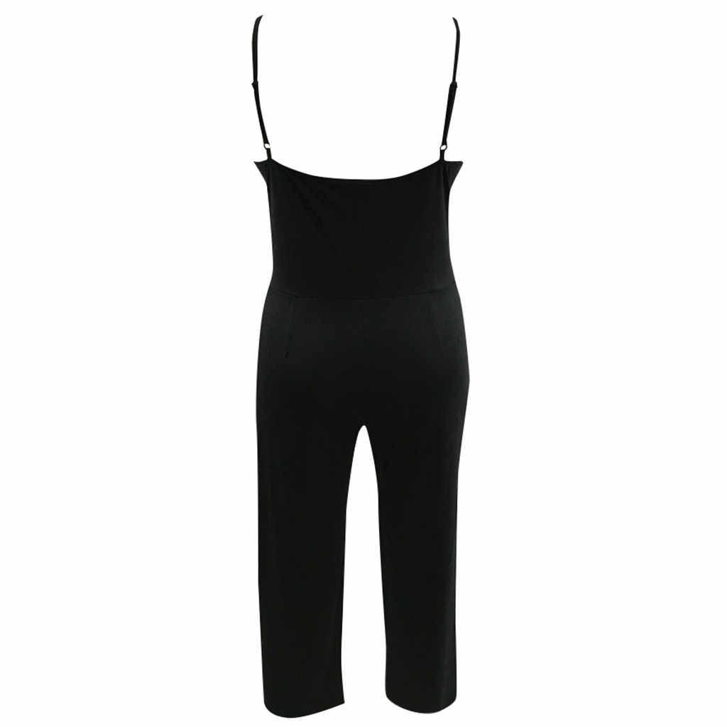 Feste Beiläufige Sexy v-ausschnitt Kurzarm Overalls Frauen Sexy V-ausschnitt Sleeveless Schlinge Taille Neun Hosen Overall Plus Größe 4XL