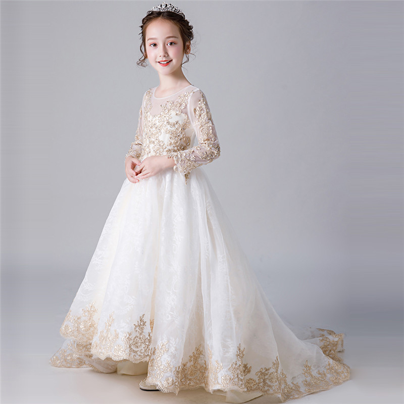 все цены на Luxury Children Model Show Catwalk Embroidery Lace Long Tail Dress Kids Girls Golden Color Birthday Wedding Party Prom Dress онлайн