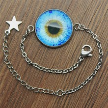 Stainless Steel Bracelet Jewelry 20mm Round Blue Eye Glass Cabochon Handmade 2019