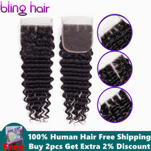 Bling Hair Peruvian Deep Wave Lace Closure With Baby Hair 4x4 Free/mid