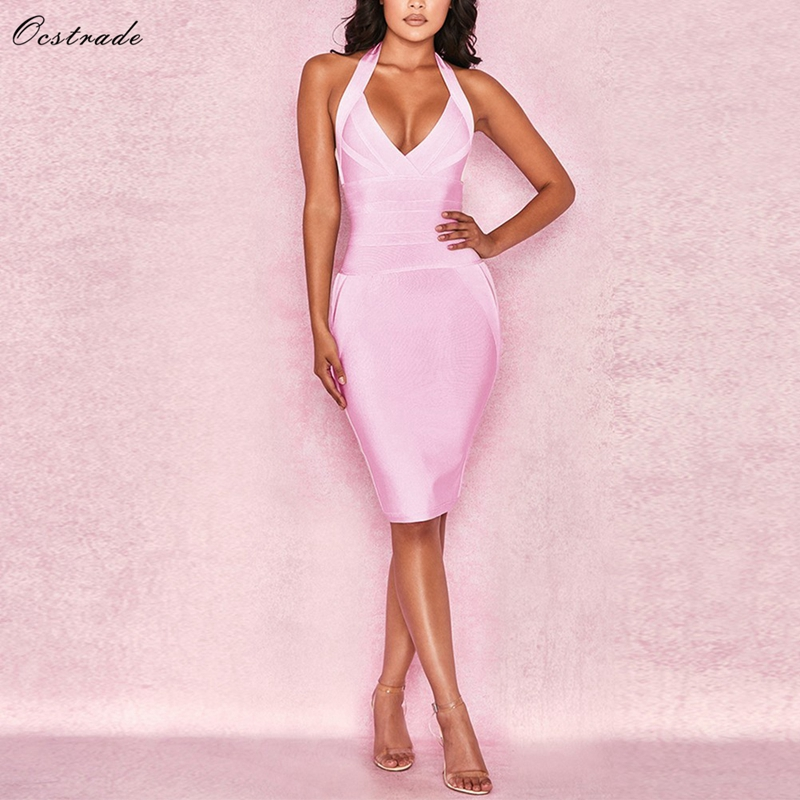 Ocstrade Sexy Bandage Dress Club Wear Summer 2019 New Clothing Pink Halter Rayon Womens Bandage Dresses