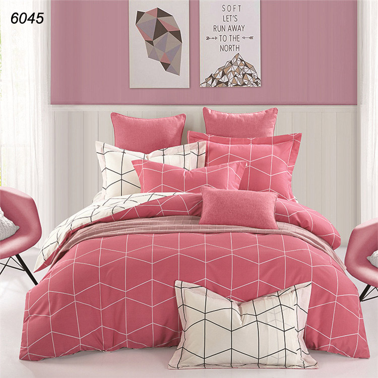pink red white solid color plaids strips pure cotton 4pcs bedding sets energetic linens two colors duvet cover flat sheet