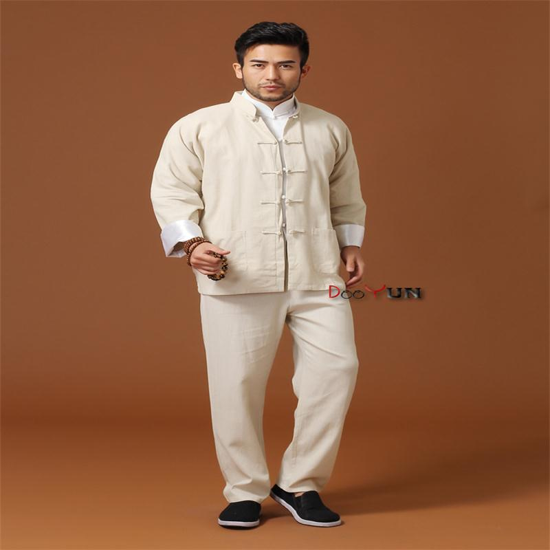 Discount Beige Chinese Men Kung Fu Uniform Cotton Linen Tai Chi Wu Shu Suit Vintage Button Clothing M L XL XXL XXXL