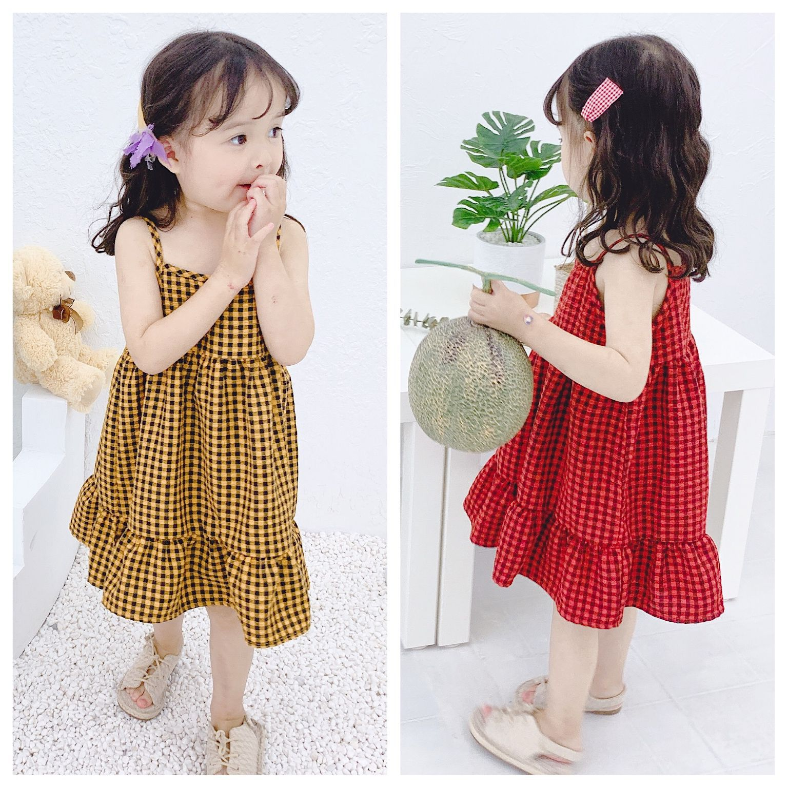 Children's Summer   dress   2009 New Kids'korean Chequered Suspended   Dresses   Baby   Girl   Clothes   Flower     Girl     Dresses