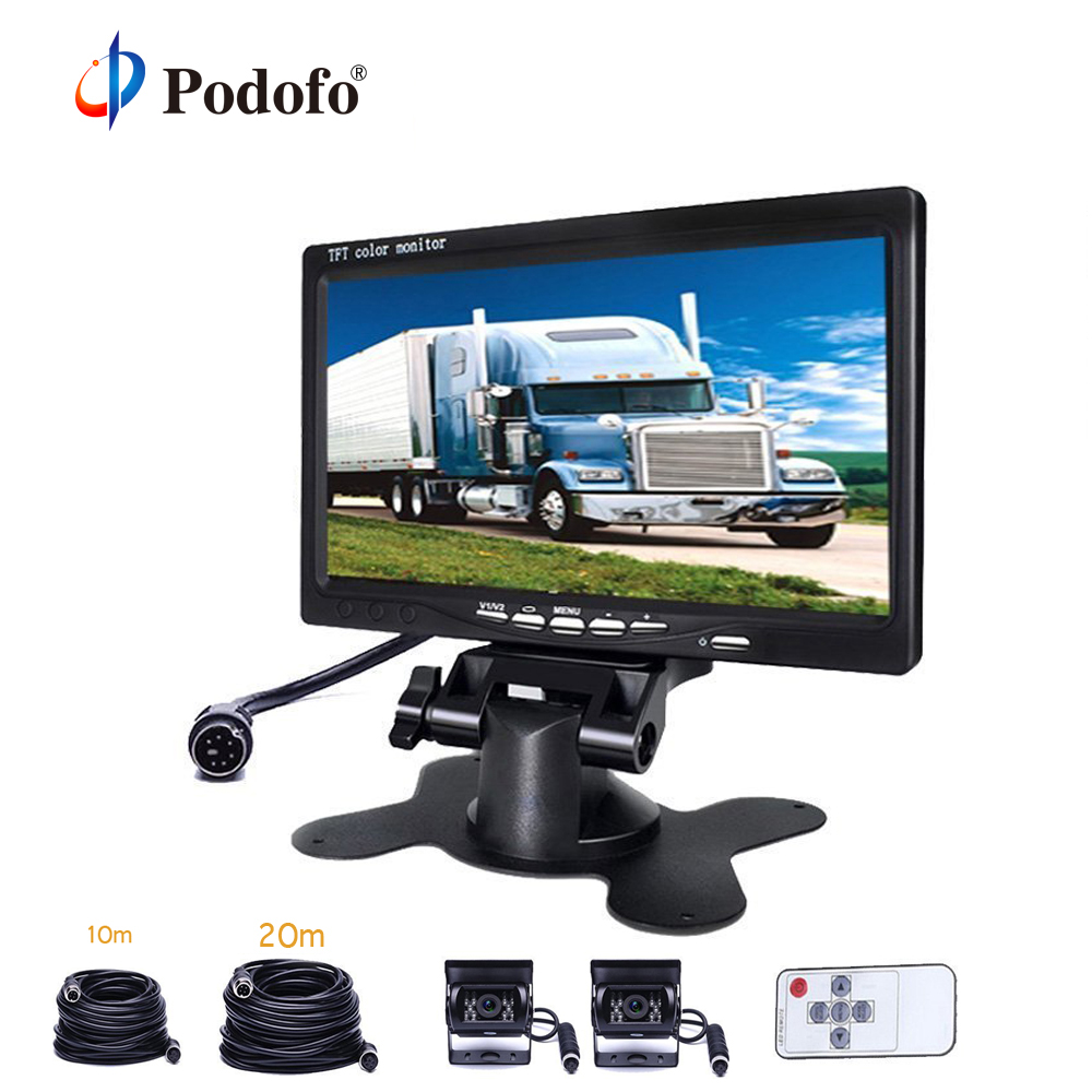 Podofo Car Monitor 7 TFT Rearview Vehicle IR LED Night Vision Reverse Camera Video Cables For